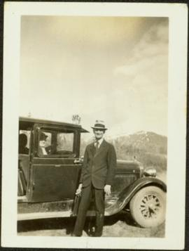 H.F. Glassey with Briefcase, Sarah Glassey in Car