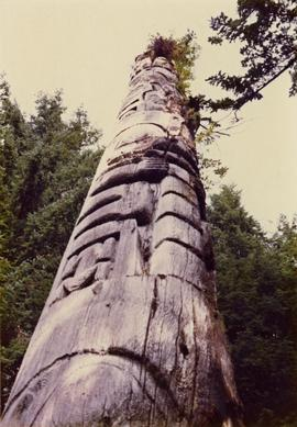 Totem pole in British Columbia rainforest