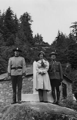 Iona Campagnolo, a RCMP officer, and a customs officer at the Canadian-American border between Hyder and Stewart