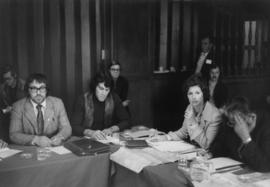 Iona Campagnolo in a meeting with other politicians or constituents