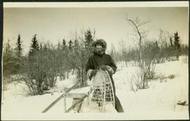 H.F. Glassey with Snowshoes near Teslin Lake, BC