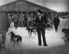 Iona Campagnolo and others with dog sled team at Midnight Sun [Pulling] Company in Whitehorse