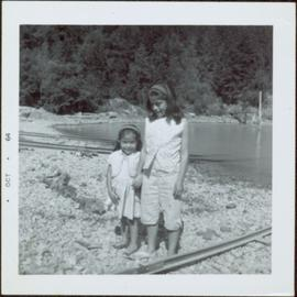 Two young girls at Kingcome Village beach