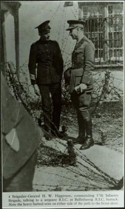 Brigadier-General H.W. Higginson talking to a sergeant R.I.C. at Ballinhassig R.I.C. barrack