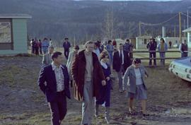 Iona Campagnolo walking with Hugh Faulkner, George Manuel, Walter Harris, and others
