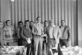 Group shot of Hugh Faulkner and Kitimaat Band Council at a land claims presentation