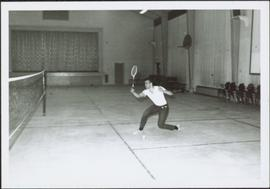 1965 - Unknown Man Playing Badminton in Rec Centre