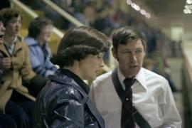 Iona Campagnolo talking to Wally Lefebre in Kitimat arena