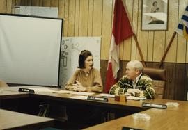 Iona Campagnolo talks to Mayor A.F. Shortreid in Smithers