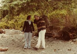 Iona Campagnolo talking with logging truck driver at Athili Gwaii, Haida Gwaii