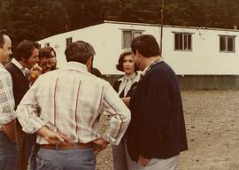 Iona Campagnolo discussing issues with workers at Frank Beban Logging camp