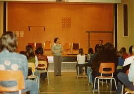 Iona Campagnolo speaking to students from Babine Elementary-Secondary School in Granisle during s...