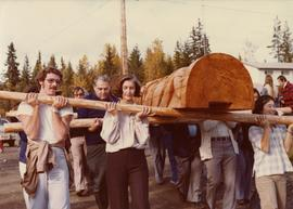 Iona Campagnolo helping transport totem pole at Kispiox