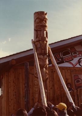 Kispiox community members helping to raise a totem pole