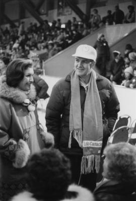 Iona Campagnolo talks with an unidentified man in the Cassiar Arena