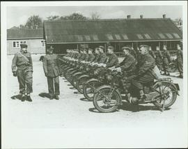 No. 1 Canadian Provost Corps lined up in motorcycle formation for inspection