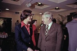 Iona Campagnolo talks with Premier Peter Lougheed at the Crest Hotel in Prince Rupert