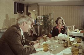 Iona Campagnolo, Premier Peter Lougheed and Mayor Peter Lester eating at the Crest Hotel in Princ...