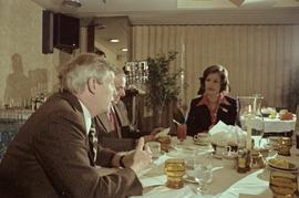 Iona Campagnolo, Premier Peter Lougheed and Mayor Peter Lester sitting and talking at the Crest H...