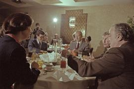 Iona Campagnolo, Premier Peter Lougheed and Mayor Peter Lester and two unidentified men talk at t...