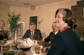 Iona Campagnolo, Premier Peter Lougheed, Mayor Peter Lester and an unidentified man talk at the C...