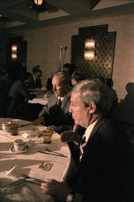 Premier Peter Lougheed and an unidentified man talk at the Crest Hotel in Prince Rupert