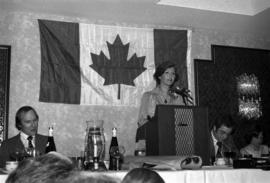 Iona Campagnolo speaking at podium at the Crest Hotel in Prince Rupert