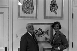 Iona Campagnolo and unidentified man in Campagnolo's Ottawa office