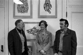 Iona Campagnolo and two unidentified men pose in Campagnolo's Ottawa office