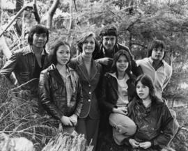 Iona Campagnolo poses with a group of unidentified First Nations young adults