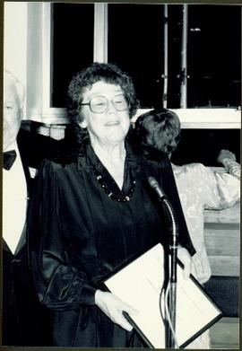 Moran Giving Speech as Best Author of 1988