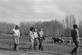 Iona Campagnolo, Minister Jack Horner, and unidentified others walking through a cow pasture in S...