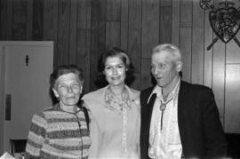 Iona Campagnolo poses for picture with Bill Campbell and unidentified woman