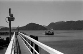 """Kwuna"" ferry and wharf at Sandspit, Queen Charlotte Islands"