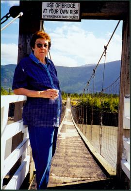 Bridget Moran at Gitwinksihlkw Suspension Bridge