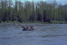 Teams rafting the Kitimat River for the Elks Raft Race during the Kitimat Delta King Days