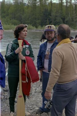 Iona Campagnolo talks with  Mayor George Thom, past Exhalted Ruler of the Kitimat Elks, and unide...