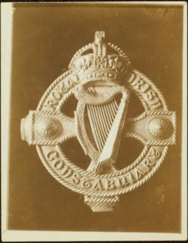 Closeup of an Royal Irish Constabulary silver Celtic ornament