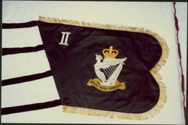 Closeup of an Royal Irish Rangers pipe banner