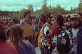 Iona Campagnolo holding rafting figurines in a crowd of Kitimat constituents at Delta King Days r...