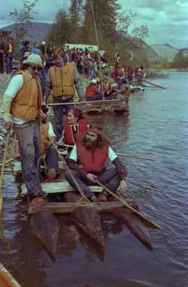 Iona Campagnolo and unidentified men starting raft race at Kitimat Delta King Days