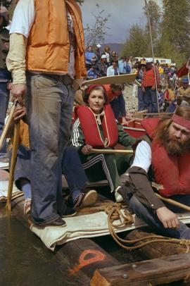 Iona Campagnolo on raft with unidentified participants at Kitimat Delta King Days