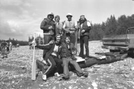 Iona Campagnolo and rafting team poses for group portrait during Kitimat Delta King Days raft race event
