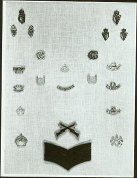 Closeup of Royal Irish Constabulary badges and arm crests
