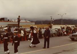 Mayor Peter Lester and man dressed as Captain Cook in the Prince Rupert Sea Festival parade