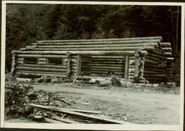 Log cabin under construction