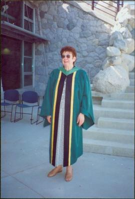 Bridget Moran Wearing UNBC Regalia