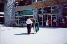 Bridget Moran Speaking with Unidentified Man after UNBC Convocation Ceremony