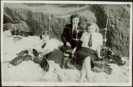 Bridget Moran, Betty Pincombe, & Grace Boice in Royal Canadian Naval Service Uniforms