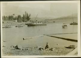 J.J. Claxton sitting on the rocky shoreline of Bendickson Harbour